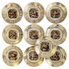 Bloor Derby Set of 10 Plates, Fruit Paintings by Thomas Steel, Regency 1820-1825