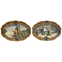 Pair of 19th Century French Hand-Painted Faience Oval Wall Platters from Nevers