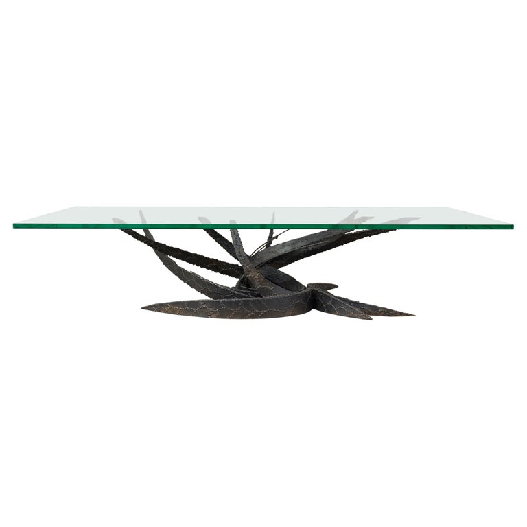 Midcentury Silas Seandel Brutalist Iron Torch Cut Cocktail Table For Sale