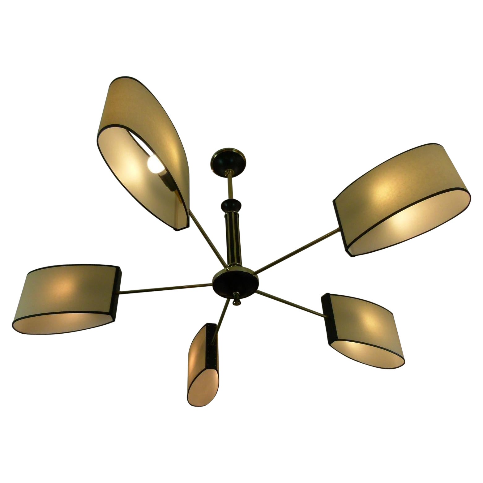 1950s Five-Lighted Arms Chandelier by Maison Lunel