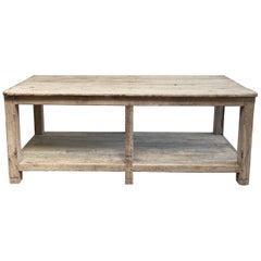 Reclaimed Vintage Teak Wood Counter Island with Shelf