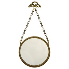 1950s Vintage Italian Chain Hanging & Chased Bronze Round Mirror with Knot