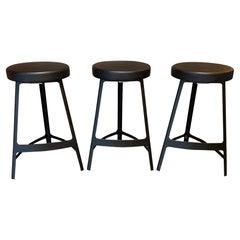 Contemporary Modern Set of 3 Sean Dix Metal Bar Stools Industrial