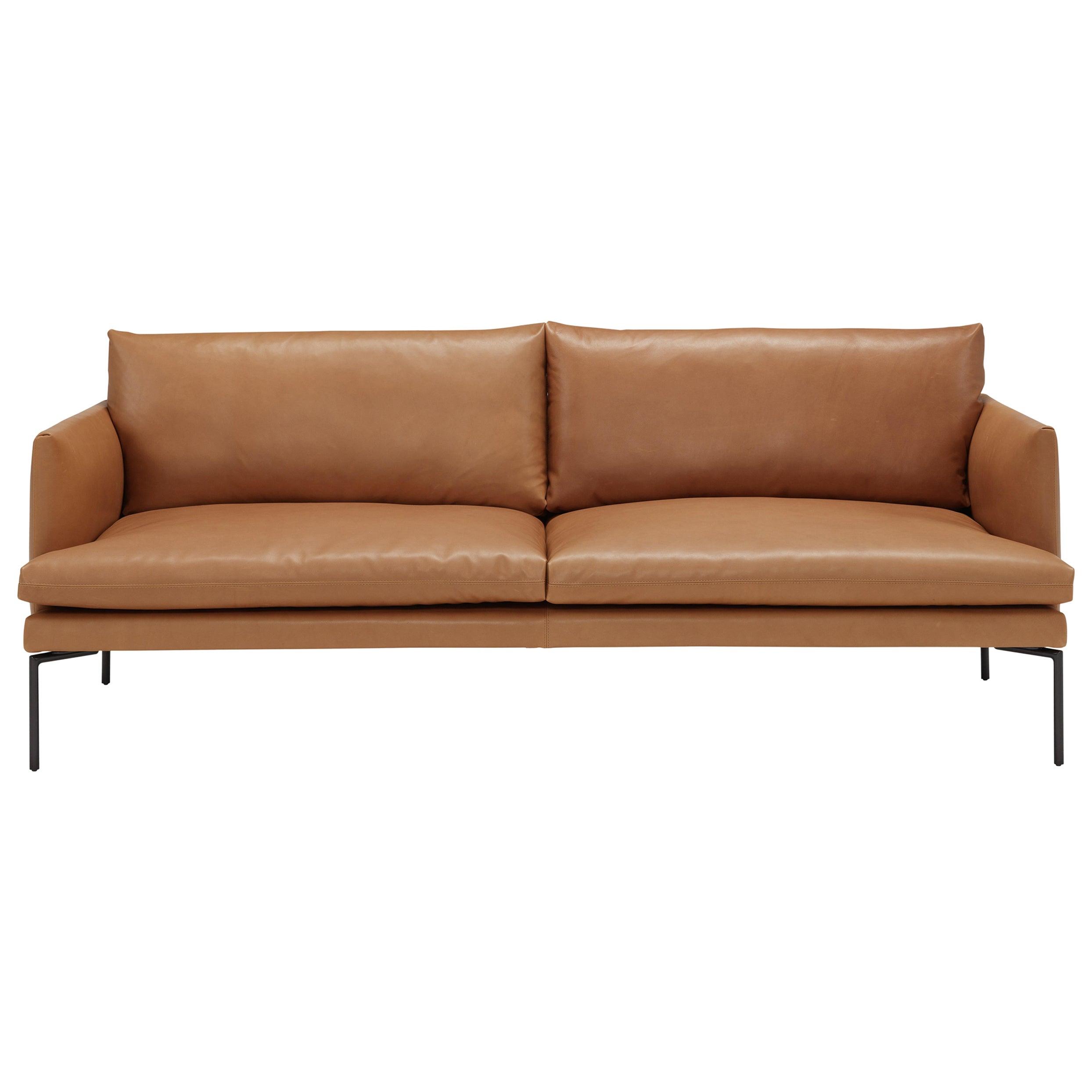 Amura 'Mavis' 2-Seat Sofa in Brown Leather and Metal Feet