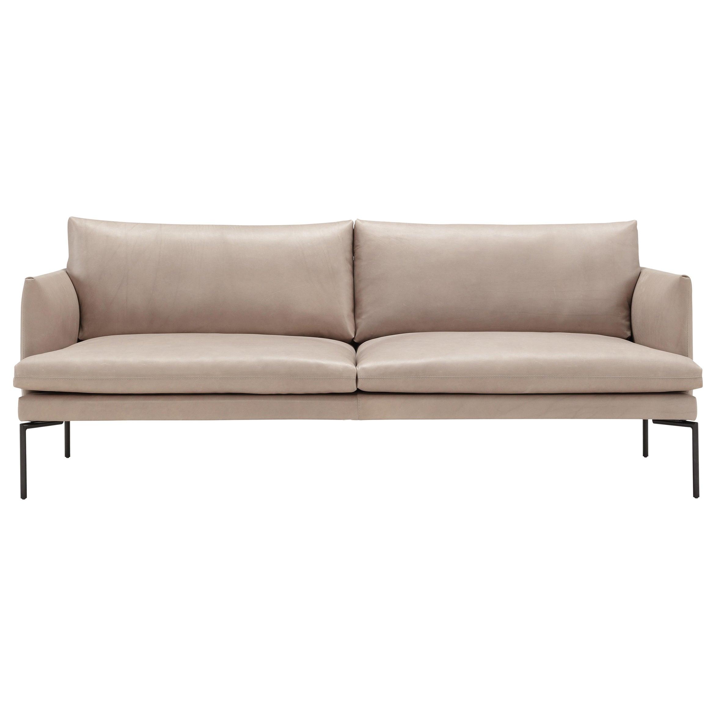 Amura 'Mavis' 2-Seat Sofa in Tan Leather and Metal Feet