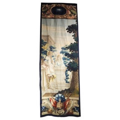 Tall 17th C. Wool and Silk Tapestry with Colorful Cartouche and Trophy Decor