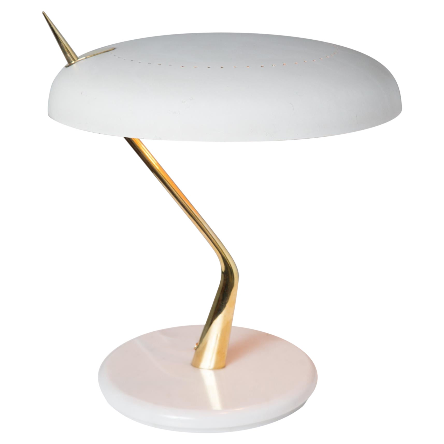 1950s Oscar Torlasco Mable and Metal Table Lamp for Lumen Milano