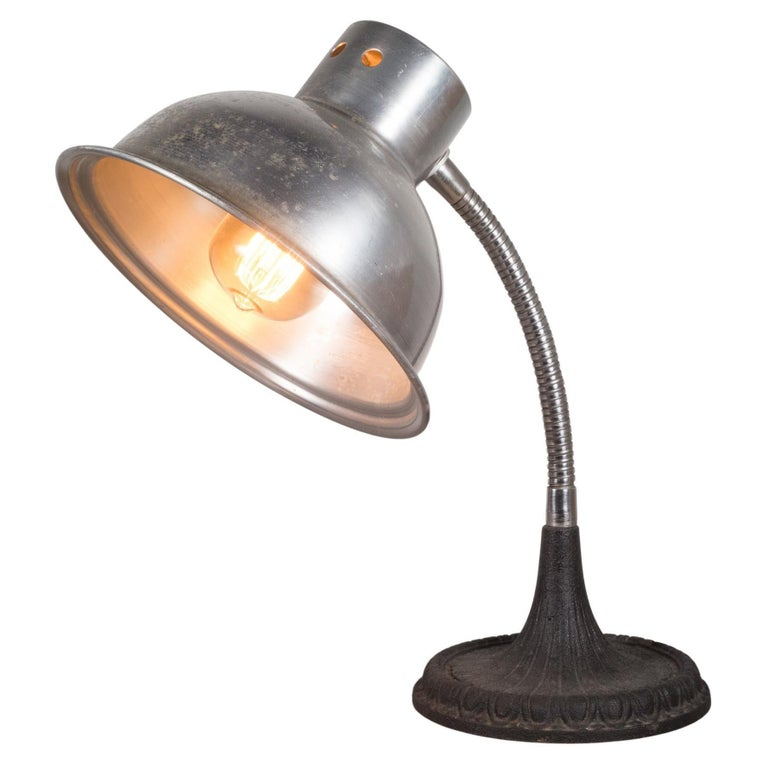 Articulating Gooseneck Table Lamp with Cast Iron Base c.1930 For Sale