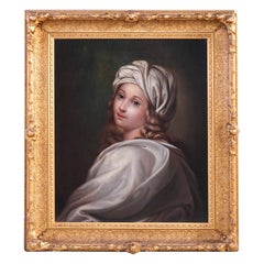 Antique Oil on Canvas Painting, Girl in White Turban Old Master Copy, circa 1850