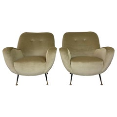 Mid Century Italian Lounge Chairs, a Pair