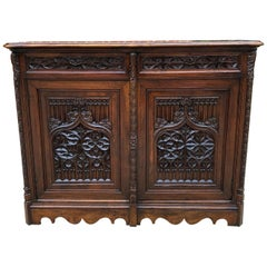 Antique French Sideboard Server Buffet Cabinet Gothic Revival Walnut 19thC