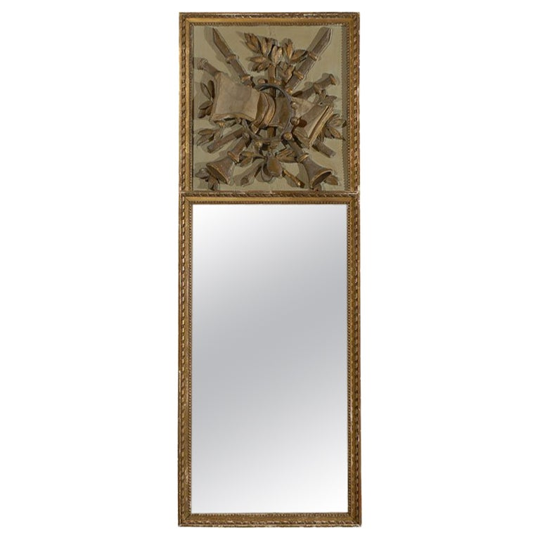 French Louis XVI 18th Century Trumeau Mirror from Provence with Musical Trophy