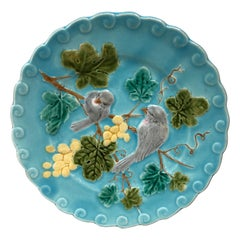 French Majolica Bird and Grapes Plate Sarreguemines, circa 1880