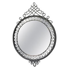 French 1950s Cast Iron Ornate Mirror