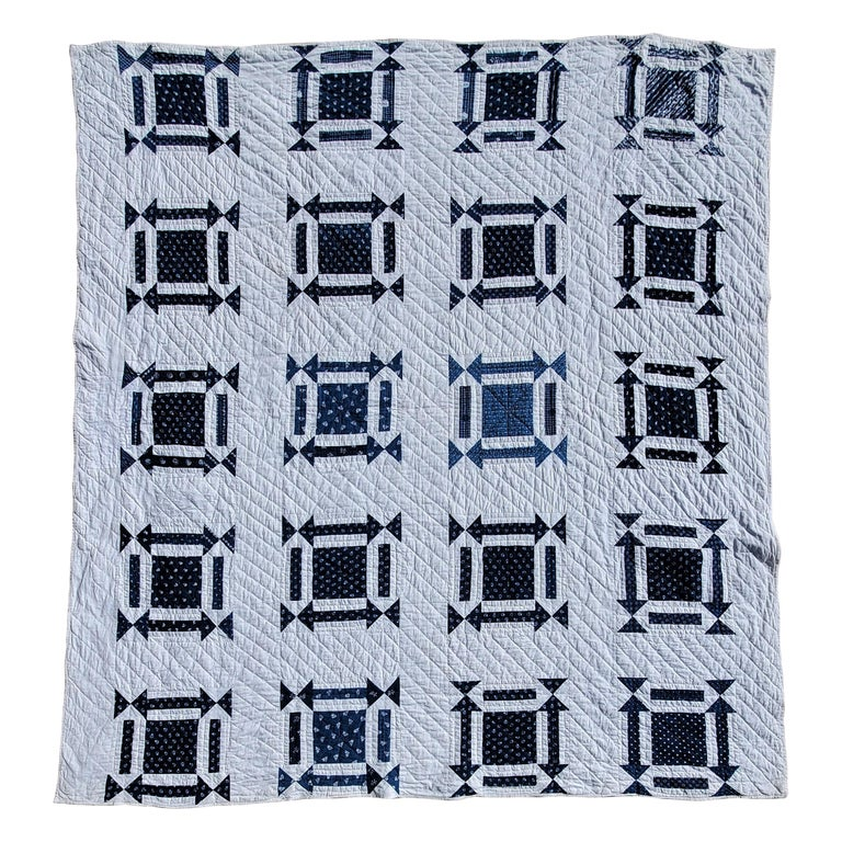 19thc Geometric Blue & White W/ Arrows & One Patch Quilt For Sale