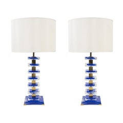 1980's Pair of Murano Glass Table Lamps