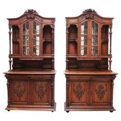Pair of Large French Antique Renaissance Revival Buffet Cabinet Oak 19th Century