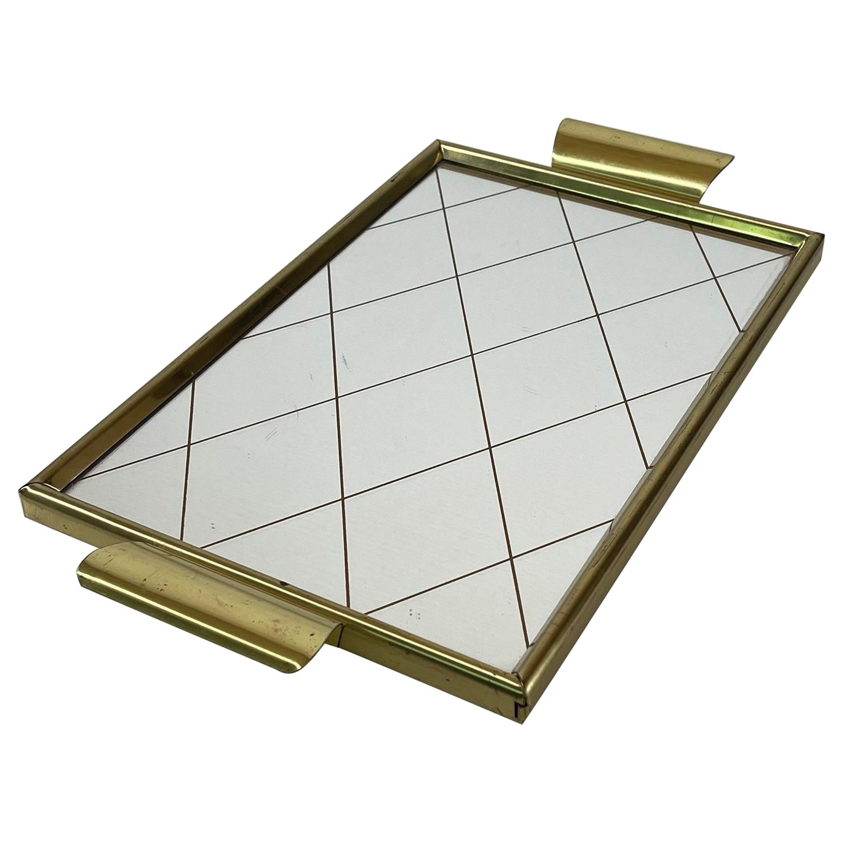 Mid-Century Modern Mirrored Brass Vanity Tray, Austria, 1950s