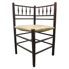 Morris & Co, Attributed to Phillip Webb, A Rare Sussex Rush Seat Corner Chair