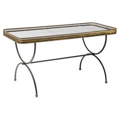 Black Ceramic and Metal Low Coffee Table by Maison Jansen French Decoration
