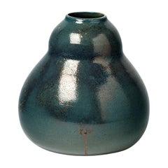 20th Century Decorative Art Ceramic Vase Green and Gold Jean Pointu, circa 1930