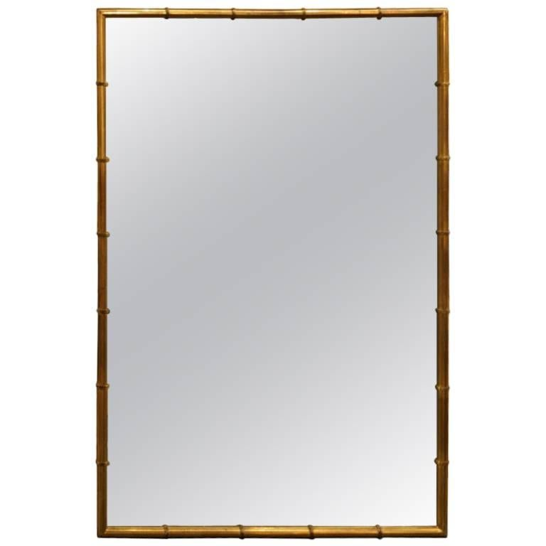 Brass Faux Bamboo Framed Mirror