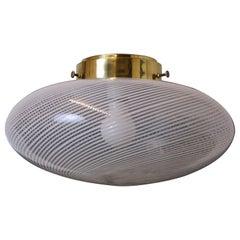 Ceiling Lamp Vistosi Torcello Murano Glass Italy 1960s Transparent White