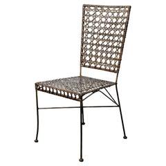 Vintage Steel + Rattan Side Chair