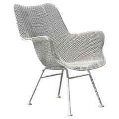 Russell Woodard Mid-Century Modern White Mesh Sculptura High Back Lounge Chair
