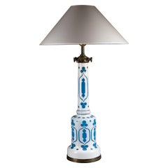 Blue and White Overlay Glass Lamp from the Iconic Store of Madeleine Castaing