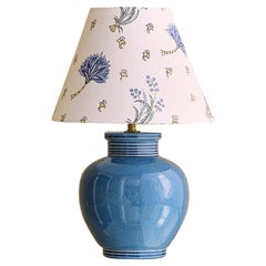 Vintage Robert Kostka Ceramic Table Lamp with Customized Shade, France, 1960's
