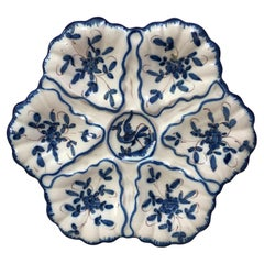 French Blue and White Faience Oyster Plate Moustiers Style, circa 1940