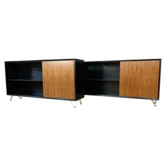Pair George Nelson for Herman Miller Black Bookcases with Walnut Doors