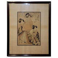 """Japanese Woodblock Print """" Three Geishas"""" Kikukawa Eizan (菊川英山) #1"""