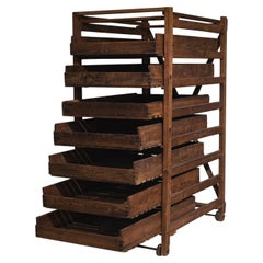 Rustic French Wooden Shelves on Wheels