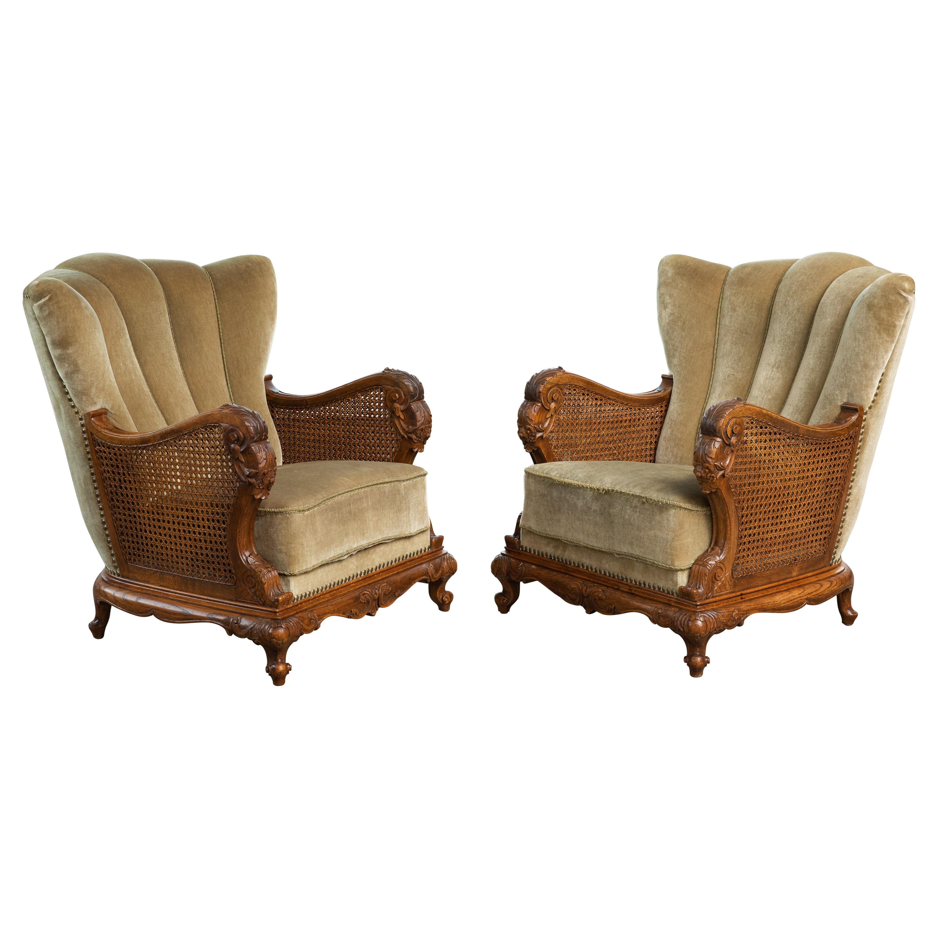 Pair of Danish Early 20th Century Caned Bergère Lounge Chairs in Oak and Mohair