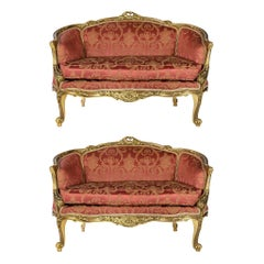 Pair of French Giltwood Loveseat Sofas