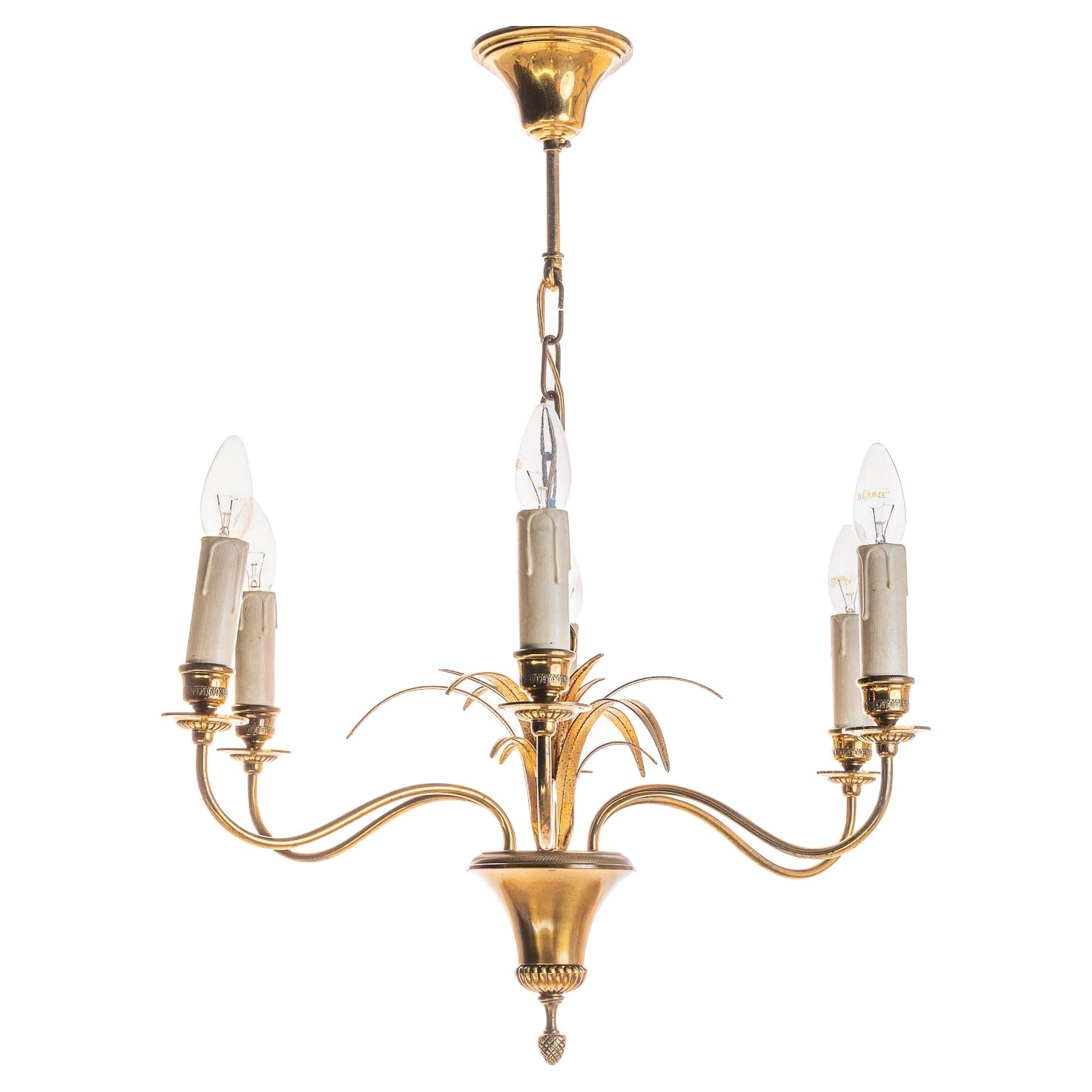 1970's Brass Chandelier In style of Maison Charles