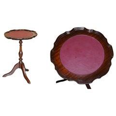 Vintage Hardwood Pie Crust Edge Oxblood Leather Tripod Side End Lamp Wine Table