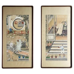 Pair of Framed Chinese Pen & Ink Paintings from Early 20th Century