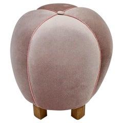 Art Deco Pink Mauve Beech Velvet Vintage Pouf Ottoman Stool 1930s Austria