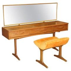 Super Rare Mid-Century Modern Teak Austinsuite Dressing Table & Original Stool