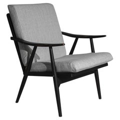 1960s Czechoslovakian Upholstered Wooden Armchair by TON