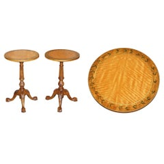 Pair of Antique Victorian Sheraton Claw & Ball Satinwood Tripod Side End Tables