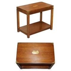 Vintage Harrods London Kennedy Military Campaign High Side End Table Hardwood