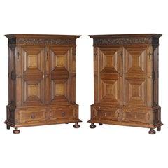 Rare Pair of Gillows Lancaster English Oak Antique Victorian Bookcase Cupboards