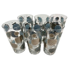 Mid-Century Modern, Georges Briard Seascape Pattern Highball Glasses, in Silver