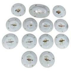 Set of 12 Fish Plates & Platter by Richard Ginori a-5 Italy