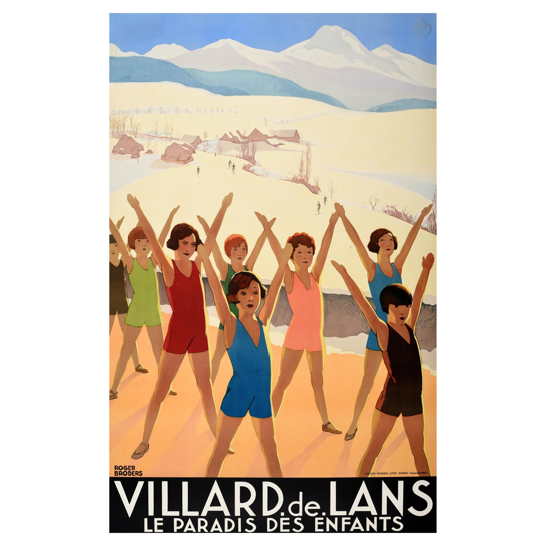 Original Vintage Travel Poster Villard De Lans French Alps Ski Children Paradise