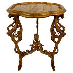 Art Nouveau Marquetry Corner Table